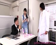 Cosplay Secretary Trying Up Some Dildos - scene 1