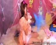 2 Beautiful Schoohirls Wearing Diapers Play Together - scene 6