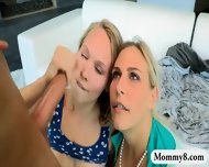 Stepmom And Teen Girl Sharing Cumload After Having Sex - scene 12
