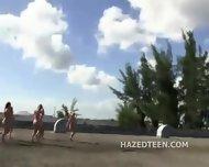 Teen Girls Perform Stunts Naked - scene 3