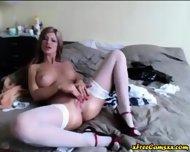 Hot Blonde Babe In Stockings Fucks Her Dildo - scene 4