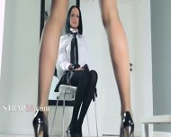 Graceful Schoolgirls Teasing Herself In Pants - scene 1