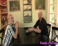 Tranny Swallows Group Cum - scene 1