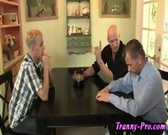 Tranny Swallows Group Cum - scene 2