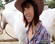 Pretty Amateur Cowgirl Tina Hot Fucked Outside For Money - scene 2