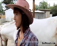 Pretty Amateur Cowgirl Tina Hot Fucked Outside For Money - scene 3