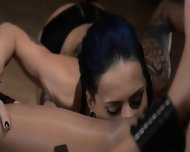 Tatto Lezzies Enjoying Copulate With Strap On - scene 5