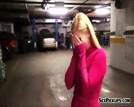 Eurobabe Ellen Flashes Tits And Banged In Car Garage - scene 2