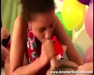 Amateur Babe Gives Interracial Blowjob In Party Game - scene 3