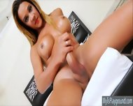 Lusty Latina Shemale Masturbates Her Big Cock Until She Cums - scene 8