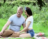 Teen Girlfriend Strips Down In The Park For Her Boyfriend - scene 6