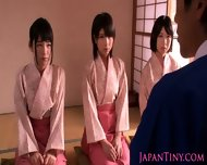 Petite Femdom Japanese Babes Jump On Dude - scene 1