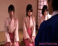 Petite Femdom Japanese Babes Jump On Dude - scene 2