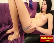 Thai Tgirl With Braces Gives Solo Show - scene 7