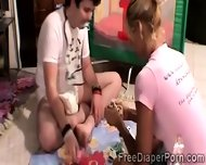 Beautiful Teen And Perverted Boyfriend Play In Diapers - scene 2
