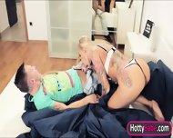 Stepmom Kayla Green Threesome With Teen Couple On The Bed - scene 3