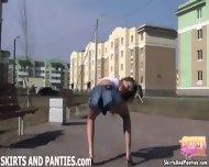 Sexy Brunette Cheerleader Honey In A Micro Skirt - scene 5