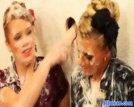 Classy Lesbians At Gloryhole Get Bukkake - scene 9