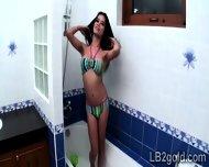 Beautiful Brunette Sheboy Jerks His Fat Dick In The Shower - scene 1