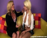 Horny Cougar Teaches Teen Girl How To Eat Pussy! - scene 2