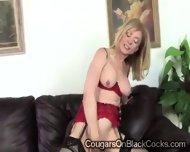 Naughty Blonde Cougar In Sexy Lingerie Enjoys A Huge Black Schlong - scene 3