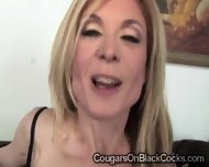 Naughty Blonde Cougar In Sexy Lingerie Enjoys A Huge Black Schlong - scene 4