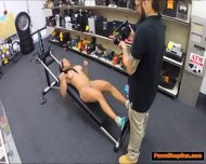 Black Milf Works Out Naked And Fucks Pawnshop Owner On Cam - scene 2