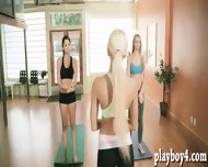 Yoga Class Of Busty Trainer With Brunette Babes To Stay Fit - scene 2