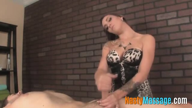 Babe with big tits gives a good handjob for cash – NastyMassage