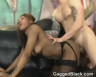 Two White Guys Roughing Black Girl Up Together In Threesome - scene 11