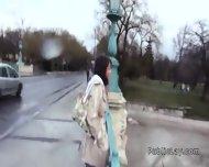 Hairy Pussy Russian Babe Fucks In The Car In Public - scene 2