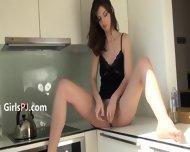 Super Sexy Blackhair In The Kitchen - scene 6