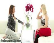 Lesbian Masseuse Fingered - scene 2