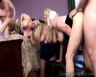 3 Platinum Blonde Cougars With Huge Boobs Share 2 Young Pieces - scene 2