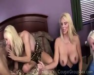 3 Platinum Blonde Cougars With Huge Boobs Share 2 Young Pieces - scene 6