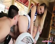 Skinny Blonde Cheerleader Carmen Callaway Nailed By Big Cock - scene 5