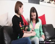 2 Tiny Teen Girfriends Erotic Lesbosex With A Dildo On Sofa - scene 3