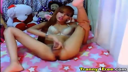 Sexy Tranny Jerking Her Cock - scene 10