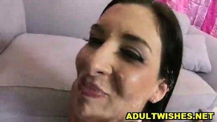 Babe eating fake Sperm from Donut - scene 9