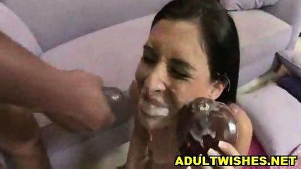 Babe eating fake Sperm from Donut - scene 5