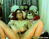 Gorgeous Tranny Babe Strokes Her Cock - scene 7