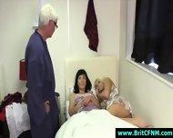 Older Guy Strips Naked For Naughty Cfnm British Girls In Their Bedroom - scene 4