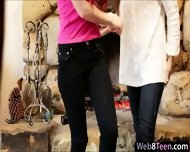 Two Lovely Teen Girls Fondling Each Pussies On A Wood Chair - scene 4