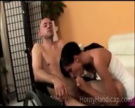 Beautiful Petite Brunette Gives Wheelchair Man A Deep Blowjob - scene 7