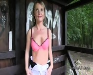 Blonde Bangs On The Bench In Park In Public - scene 2