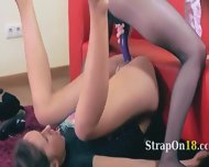 Two Horny Teenagers Having Sex On Red Couch - scene 10