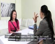 Unemployed Amateur Gets Pussy Eaten On Lesbian Casting - scene 1