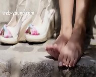 Brunette And Outdoor Tease Pussy - scene 1