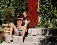 Brunette And Outdoor Tease Pussy - scene 5
