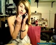 Cute Girl Talking On The Phone While Masturbating - scene 2